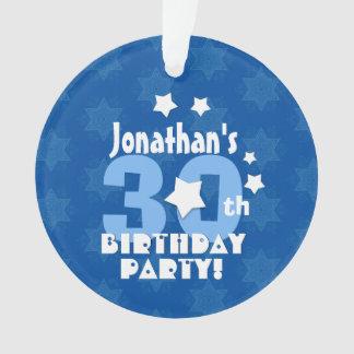 30th Birthday Party Blue Stars Custom Name A21 Ornament