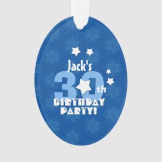 30th Birthday Party Blue Stars Custom Name A22 Ornament