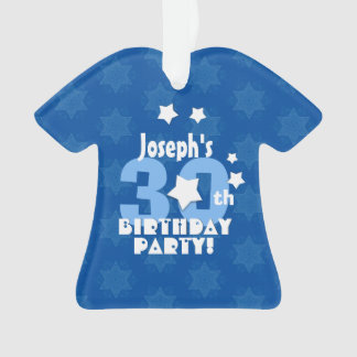 30th Birthday Party Blue Stars Custom Name A23 Ornament