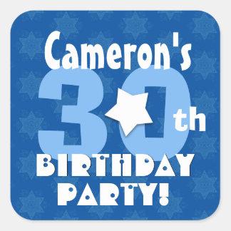 30th Birthday Party Blue Stars Custom Name V12A Square Sticker