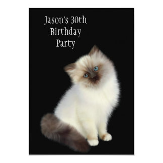 30th Birthday Party Brown & White Cat Card