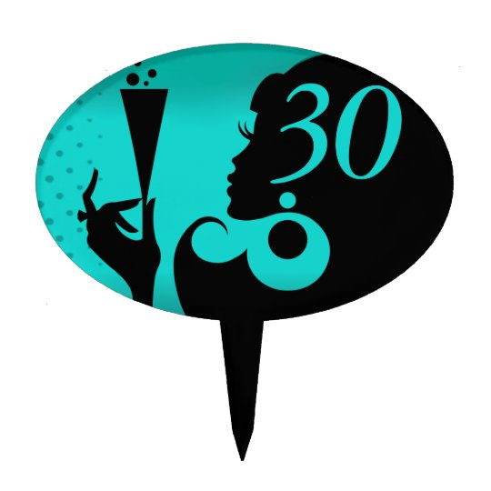 30th Birthday Party Cocktail Girl - teal Cake Topper