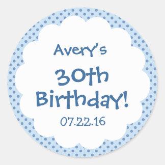 30th Birthday Party Cute Polka Dots Custom Name Classic Round Sticker