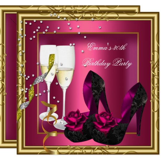 30th Birthday Party Dark Pink Gold Black Invitation