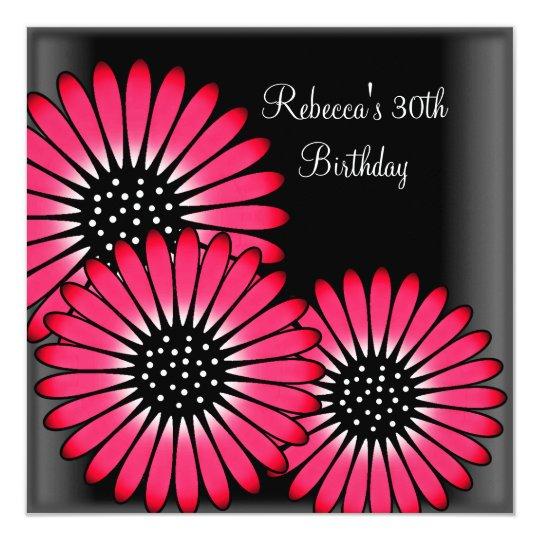 30th Birthday Party Elegant Black Pink Flowers Card