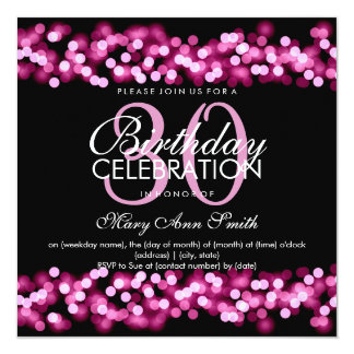 30th Birthday Party Faux Pink Hollywood Glam 5.25x5.25 Square Paper Invitation Card