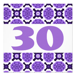 30th Birthday Party Festive Purple Flowers W936 Announcement