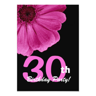 30th Birthday Party For Her Pink Daisy W1816 5x7 Paper Invitation Card