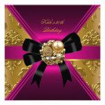 30th Birthday Party Gold Rich Royal Black Pink Invites