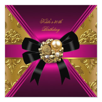 30th Birthday Party Gold Rich Royal Black Pink 5.25x5.25 Square Paper Invitation Card