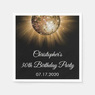 30th Birthday Party Gold Sparkle Disco Ball Paper Napkin