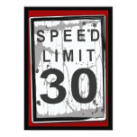 "30th Birthday Party Grungy Speed Limit Sign 5"" X 7"" Invitation Card"