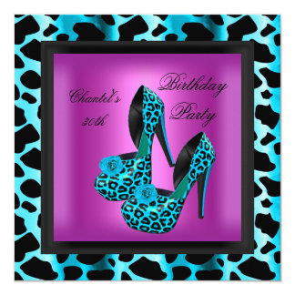 30th Birthday Party Hot Pink Leopard Teal Blue Card