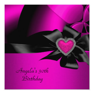 30th Birthday Party Hot Pink Silver Abstract Black Card