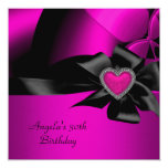 """30th Birthday Party Hot Pink Silver Abstract Black 5.25"""" Square Invitation Card"""