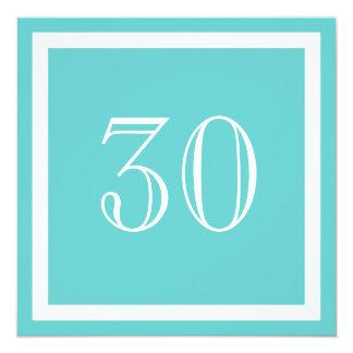 """30th Birthday Party Invitation - Aqua 5.25"""" Square Invitation Card"""