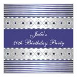 30th Birthday Party Invitation Blue White 30th