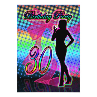 30th Birthday Party Invitation, Neon With Female S 5x7 Paper Invitation Card