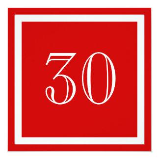 """30th Birthday Party Invitation - Red 5.25"""" Square Invitation Card"""