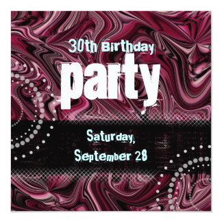 30th Birthday Party Invitation ~ Red Marbled