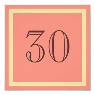 """30th Birthday Party Invitation - Salmon Coral 5.25"""" Square Invitation Card"""