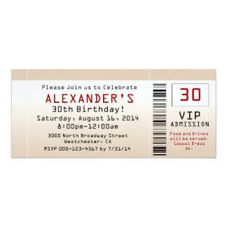 "30th Birthday Party Invitation Sand Ticket 4"" X 9.25"" Invitation Card"