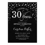 30th Birthday Party Invitation - Silver Black