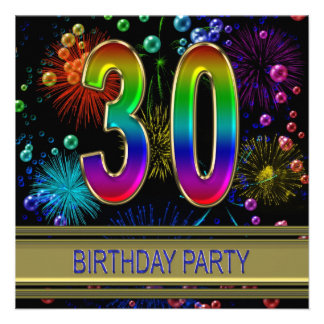 30th Birthday party Invitation with bubbles