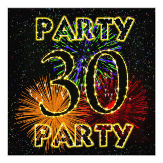 30th birthday party invitation with fireworks