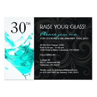 "30th BIRTHDAY PARTY INVITATIONS 5"" X 7"" Invitation Card"
