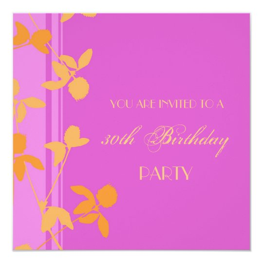 30th Birthday Party Invitations Pink Orange