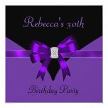 30th Birthday Party Jewel Bow Black Purple Custom Invitation