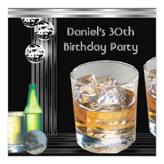 30th Birthday Party Mens Drinks Black Silver Card