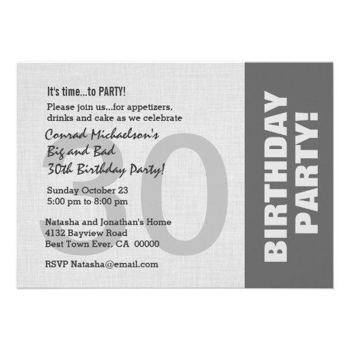 30th Birthday Party Modern Horizontal Side Color Personalized Announcement