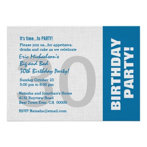30th Birthday Party Modern Horizontal Side Color Custom Invitation