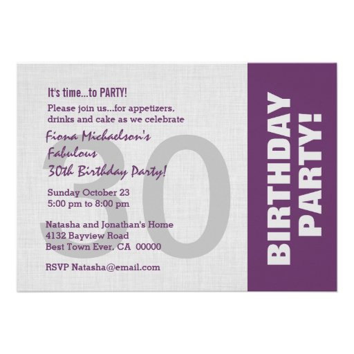 30th Birthday Party Modern Horizontal Side Color Invites