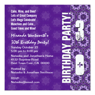 30th Birthday Party Modern Purple Square Card