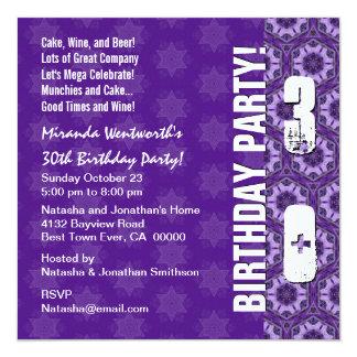 30th Birthday Party Modern Purple Square Invitation