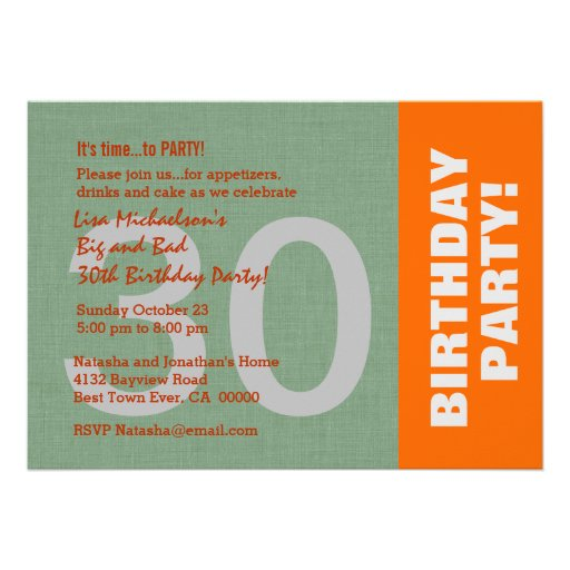 30th Birthday Party Modern Sage Green Linen Look Personalized Announcement