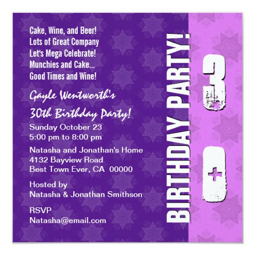 30th Birthday Party Modern Square Card