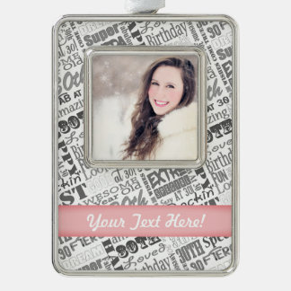 30th Birthday Party Personalized Gifts Silver Plated Framed Ornament