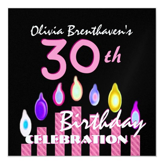 30th Birthday Party Pink CandlesFor Her K421 Card