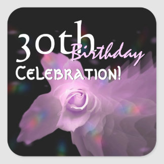 30th Birthday Party Pink Dancing Butterfly Rose Square Sticker
