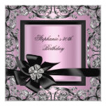 30th Birthday Party Pink Silver Black Bow 5.25x5.25 Square Paper Invitation Card