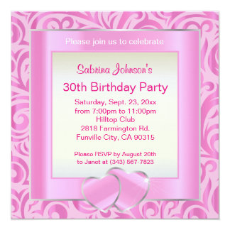 30th Birthday Party | Pink, Silver & White Verder Card