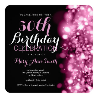 30th Birthday Party Pink Sparkling Lights 5.25x5.25 Square Paper Invitation Card