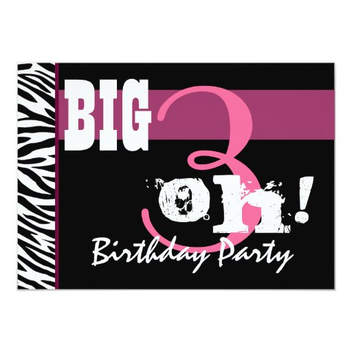 30th Birthday Party - Pink Zebra Template 5x7 Paper Invitation Card