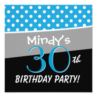 30th Birthday Party Polka Dot Pattern for Her Invitation