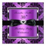 "30th Birthday Party Purple Damask Silver Black 5.25"" Square Invitation Card"