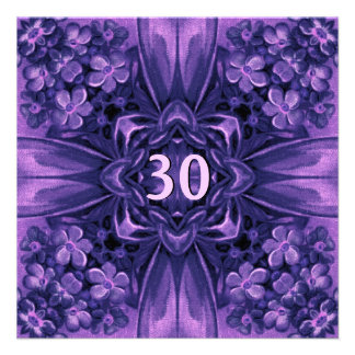 30th Birthday Party Purple Flowers and Bow Linen Invitation